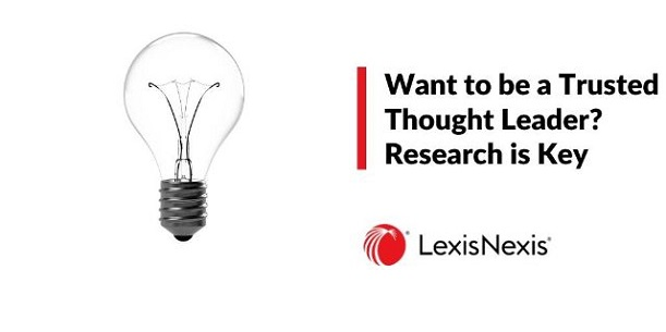 A single lightbulb on a white background. Thought leader inspires other professionals through research.